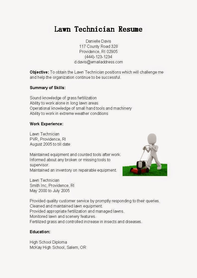 resume samples  lawn technician resume sample