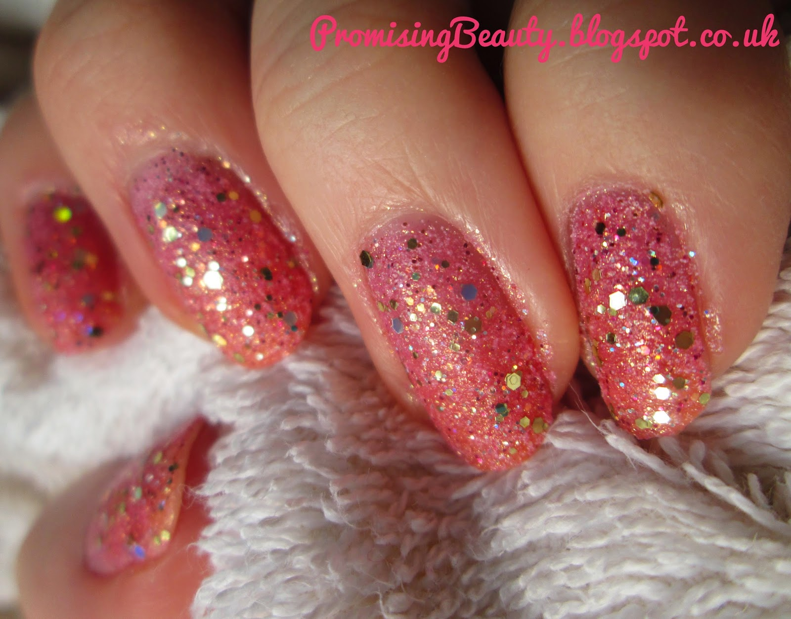 Pink champagne valentines day manicure. Miss sporty 3D polish. Pink glitter barbie nails with Barry M yellow topaz