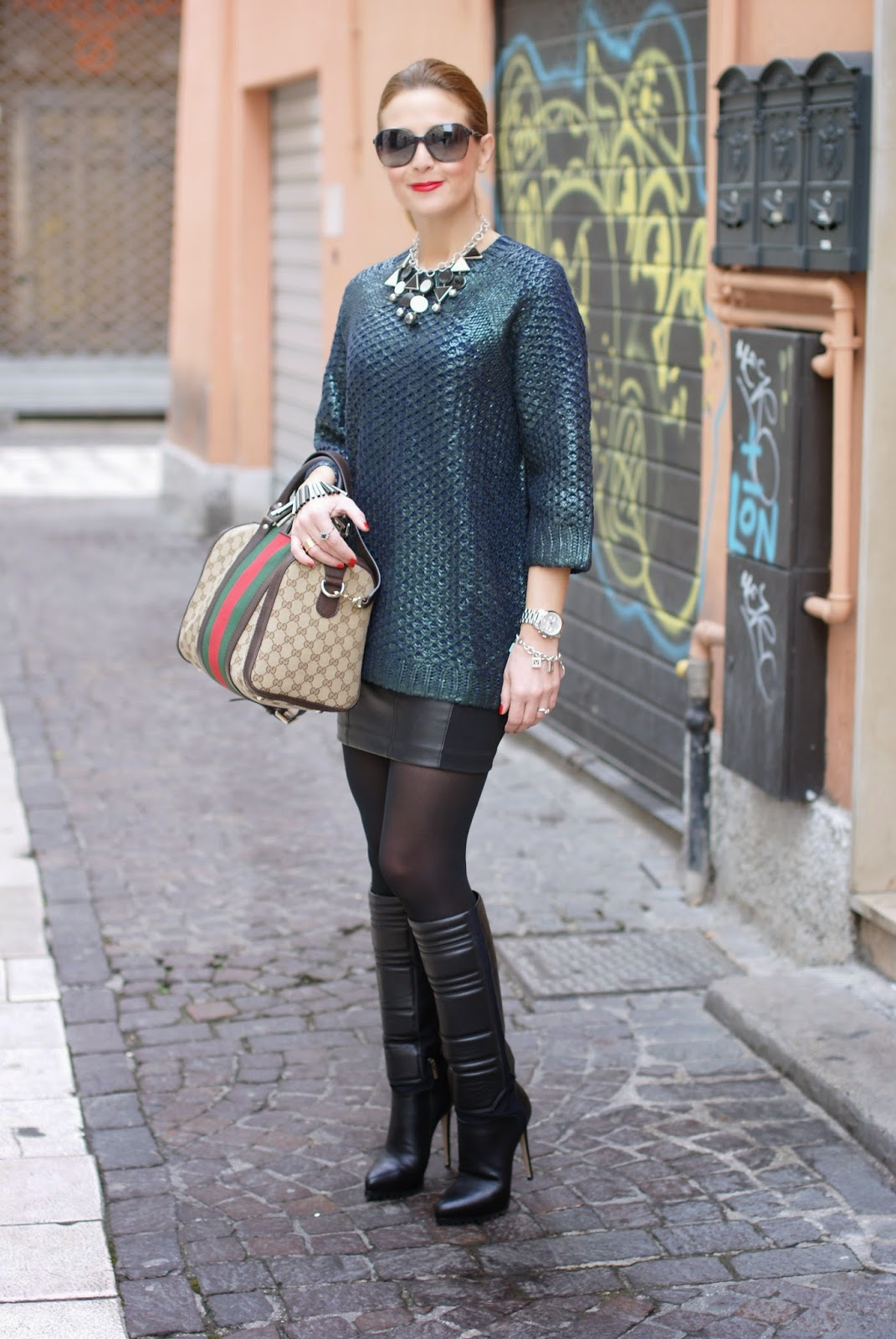 metallic finish jumper worn with leather mini skirt, Gucci web boston bag and Le Silla heels, Fashion and Cookies, fashion blogger