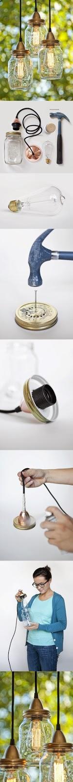 tutorial para convertir tarros de vidrio en lamparas