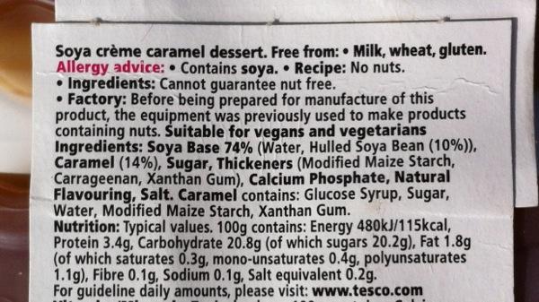 Tesco Free From creme caramel ingredients