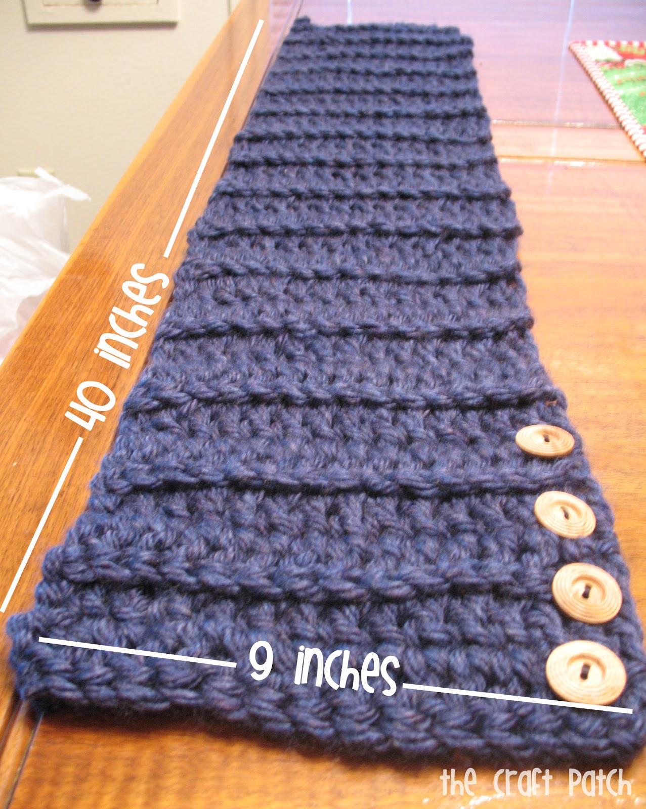 Easy Crochet Side Button Scarf - thecraftpatchblog.com