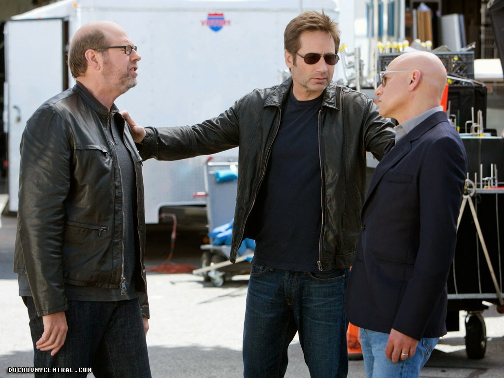 Stephen Tobolowsky as Stu Beggs, Evan Handler as Charlie Runkle and David Duchovny as Hank Moody in Californication (Season 7, Episode 8)