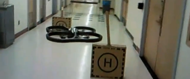 Flying robot drone avoiding obstacles
