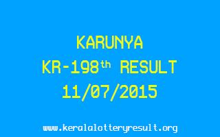 Karunya KR 198 Lottery Result 11-7-2015