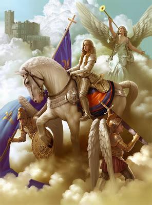 En la imagen Santa Juana de Arco entre las nubes, con armadura y montando un caballo blanco