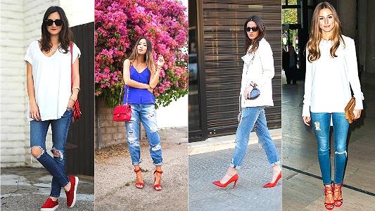 looks jeans com sapato vermelho