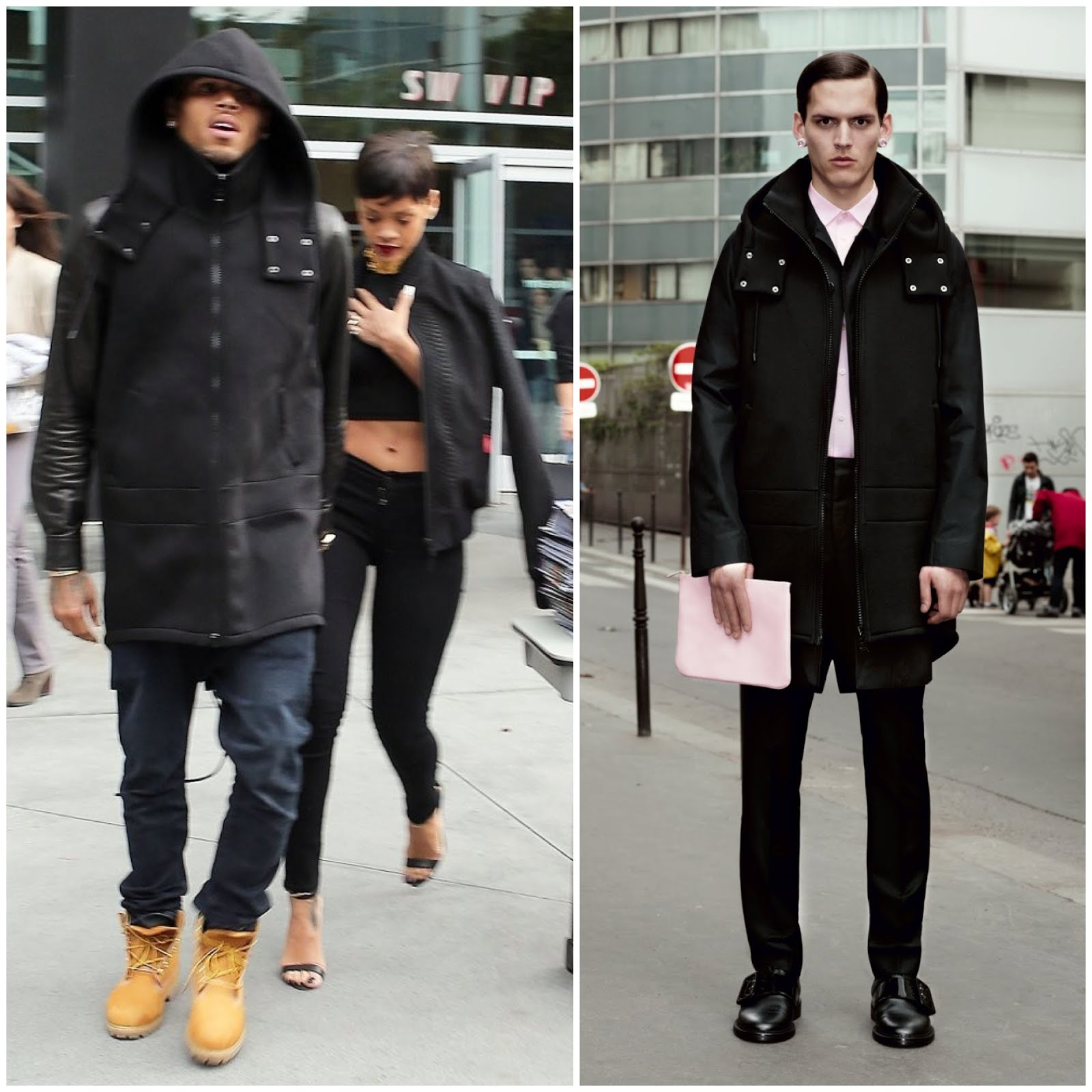 00O00 London Menswear Blog Rihanna and Chris Brown in Givenchy - Los Angeles Lakers basketball game Christmas Day