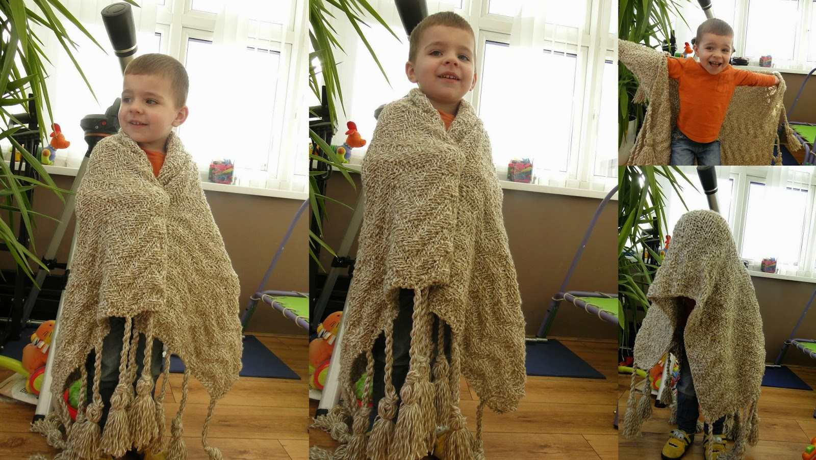 knitted blanket/wrap with fringes pattern