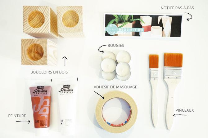 DIY : matériel pour customiser des bougeoirs en bois