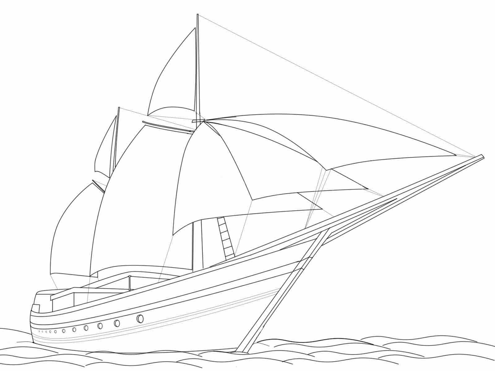 Mewarnai Kapal Layar Nelayan
