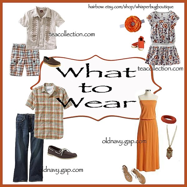 Collection of outfits in orange tones perfect to wear to a summer photography shoot