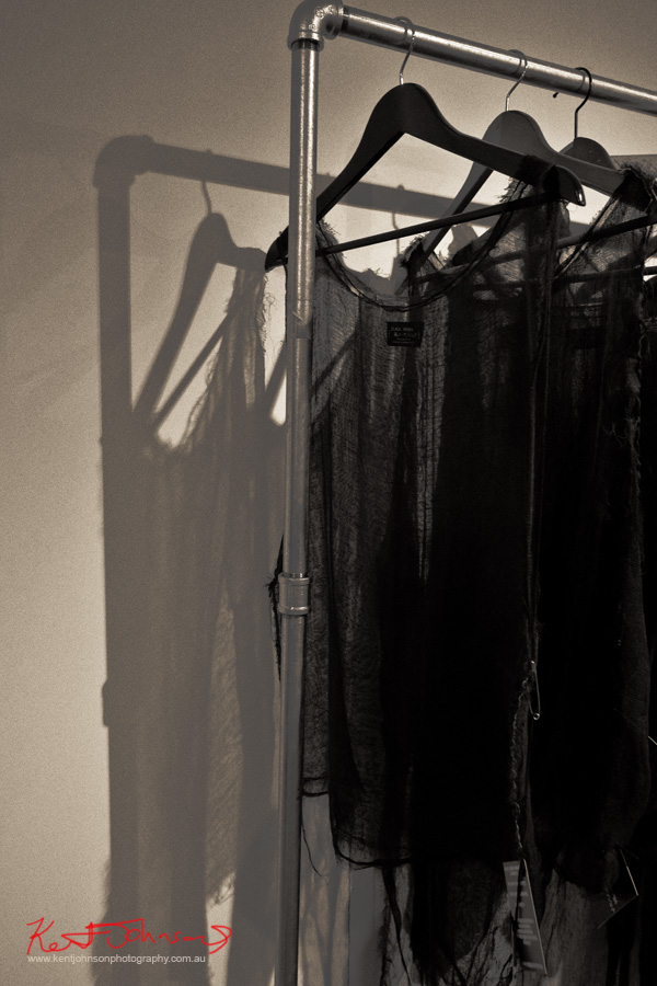 BLACK | KṚṢṆA fashion on the rack - BAND X. Photo by Kent Johnson.