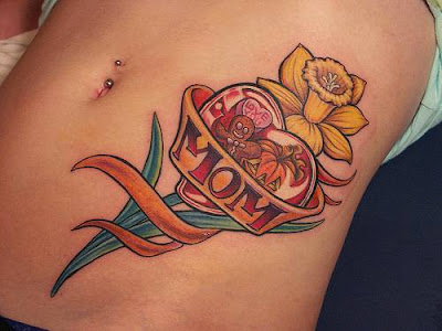 Hot Heart Tattoo for Girls with flower look like ice-cream