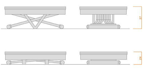 LG LESMO: Tavoli a scomparsa, tavolo e tavolino nello stesso spazio