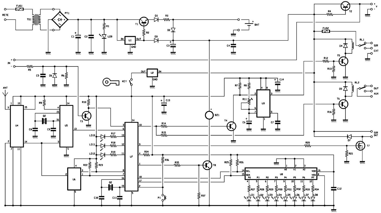 une centrale d 39 alarme 2 zones rolling code 1 re partie schema electronique net. Black Bedroom Furniture Sets. Home Design Ideas