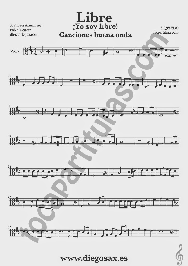 Partitura de Libre para Viola Nino Bravo y El Chaval de la Peca  Sheet Music Viola Music Score Yo soy libre