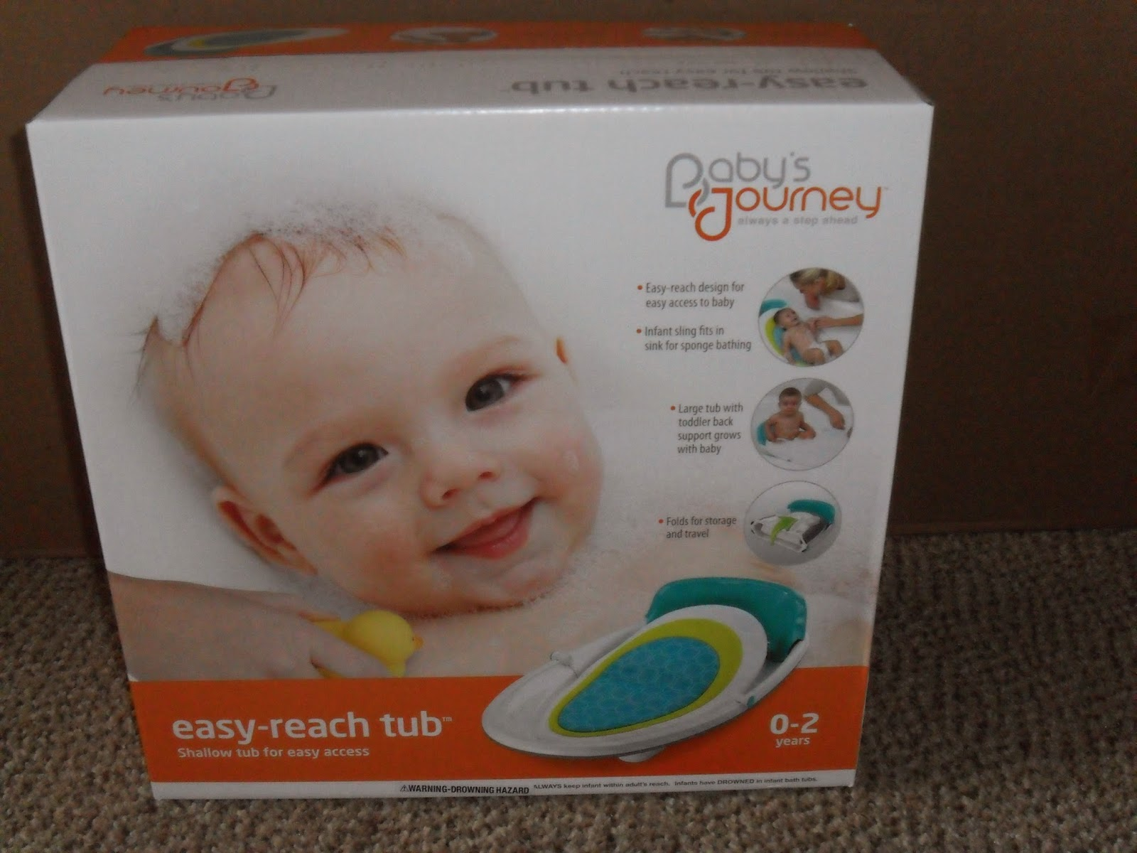 Making bath time safe with Baby's Journey. Easy Reach-Tub.  Review  (Blu me away or Pink of me Event)