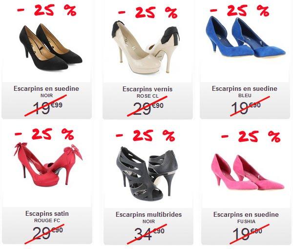 8f73c69aab5 ... récupérer le code promo Mim qui est JEU25 et de le saisir au moment de  votre achat. Je vous propose ma sélection de chaussures de soirée en  promotion.
