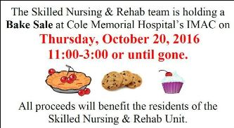 10-20 Bake Sale At Cole Memorial Imac