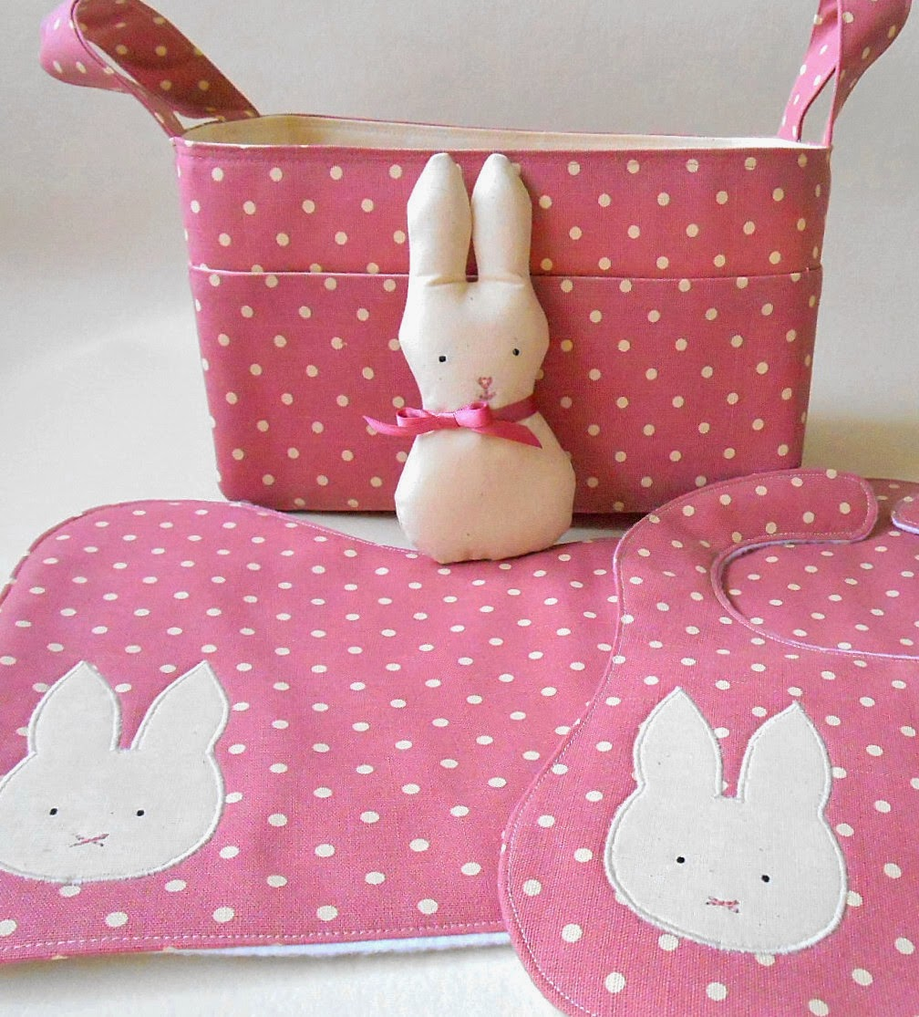 baby gift set diaper caddy, bib and burp cloth pink bunny