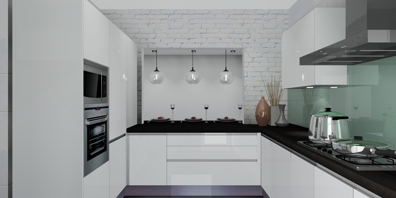 Beautiful white modern kitchen normal kitchen interior for Kitchen design normal