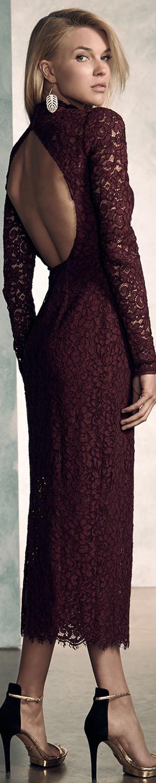 ML Monique Lhuillier Long-Sleeve Lace Midi Cocktail Dress
