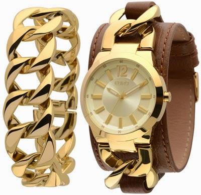 relógio feminino analógico Euro dourado couro