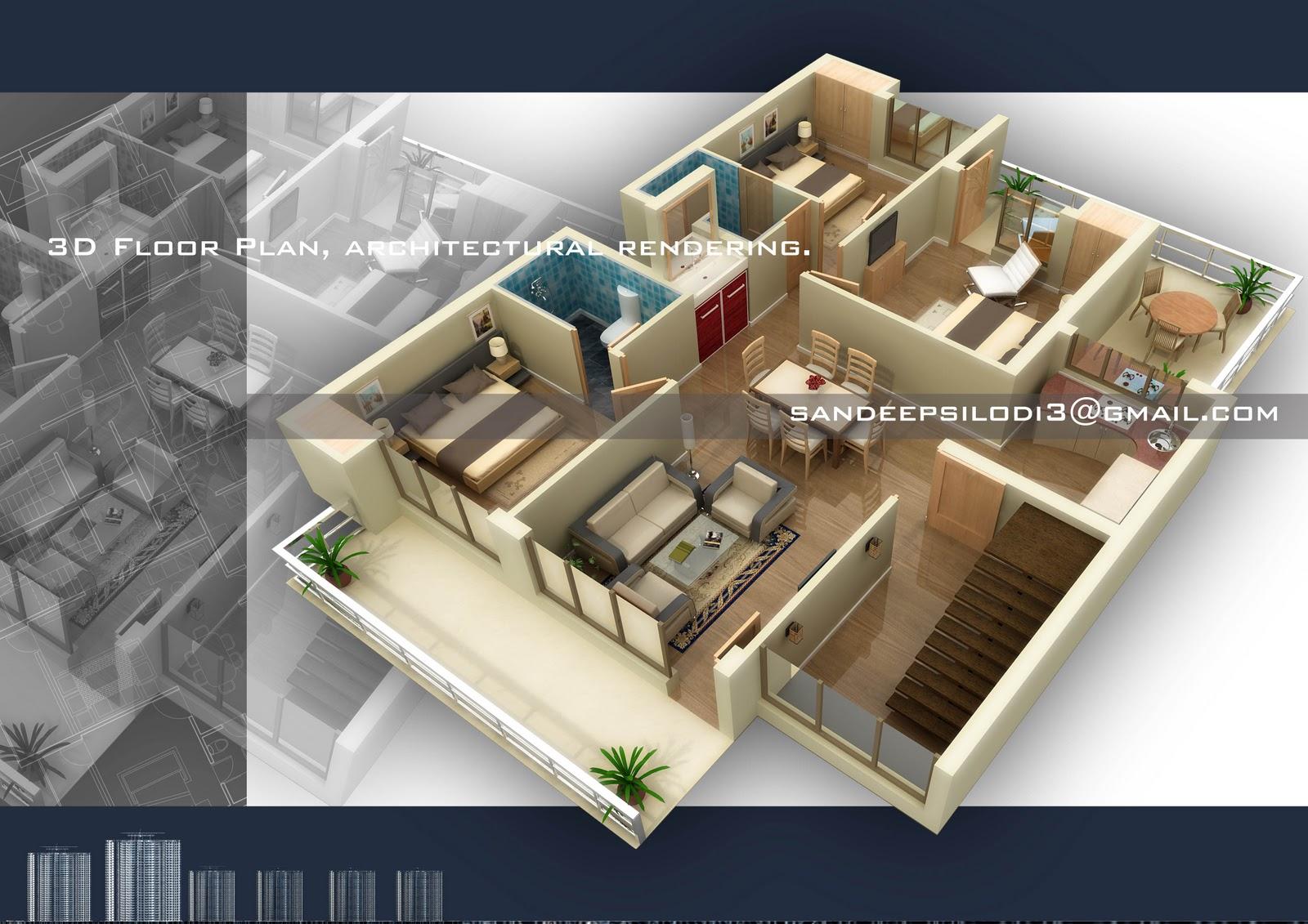 Sandeep silodi 3d floor plan rendering for 3d floor plan rendering