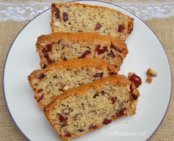 This soft, slightly moist Orange Cranberry Nut Loaf is mixed and baked in a flash ! Mix-bake-eat ---- nothing else !