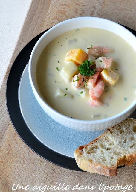 chaudrée de crevettes chowder soupe