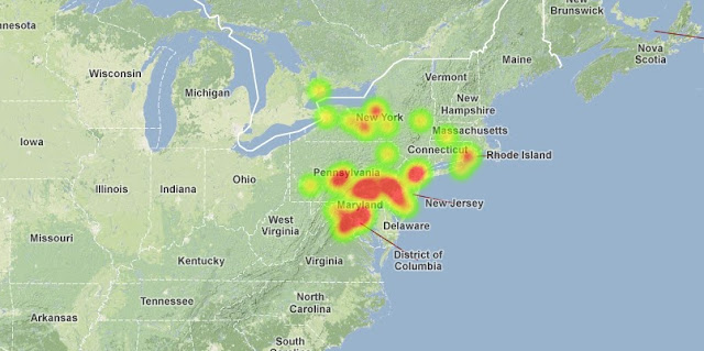 Map showing reported fireball sightings. Credit: amsmeteors.org