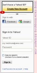 Gambar Create New Account di yahoo, Cara membuat email baru Yahoo