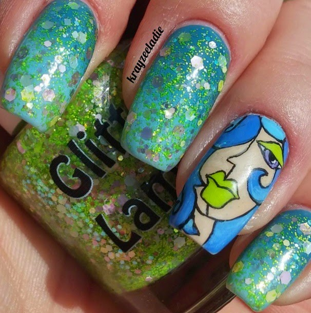 "Glitter Lambs ""Lime Green Eyeshadow""  Fashion Makeover Collection Glitter Topper Nail Polish"