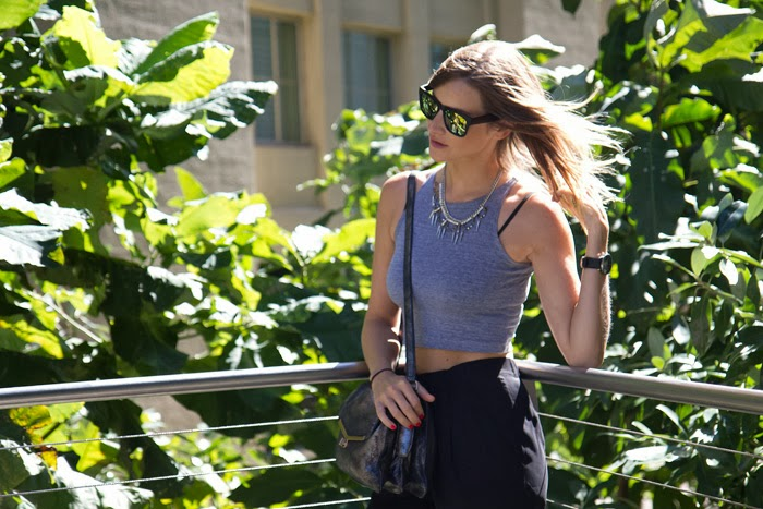 Vancouver Fashion Blogger, Alison Hutchinson, on the Highline in New York, wearing Choies reflective sunglasses, american apparel grey crop top, topshop silver necklace with spikes, black silk drawstring pants from Wish, and a silver Botkier Valentina bag.