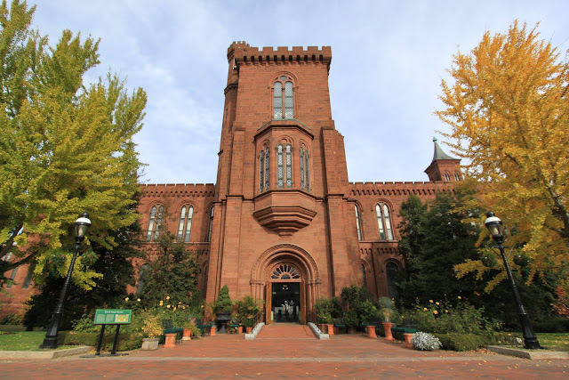 The rear view of Smithsonian Castle located on the National Mall in Washington DC, USA