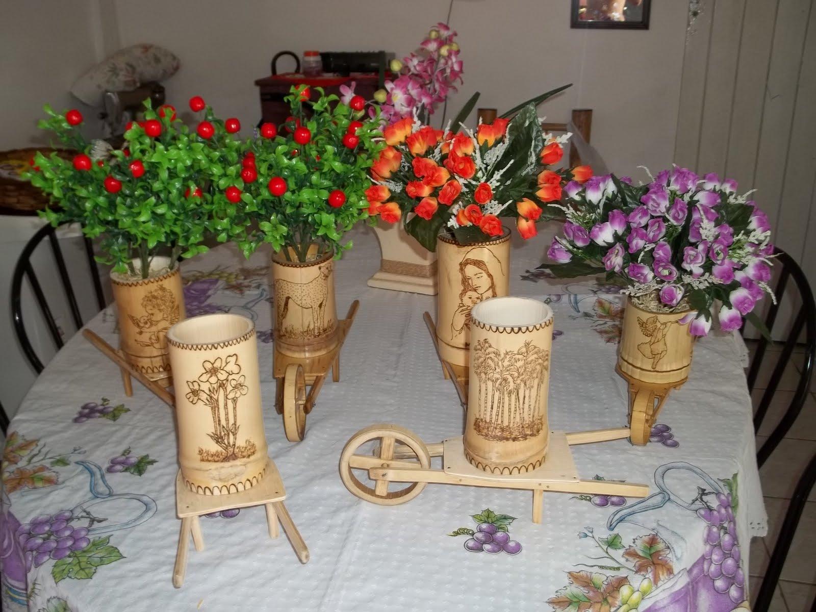 Artesanato Com Cd Velho ~ Arranjo floral Artesanato de bambu