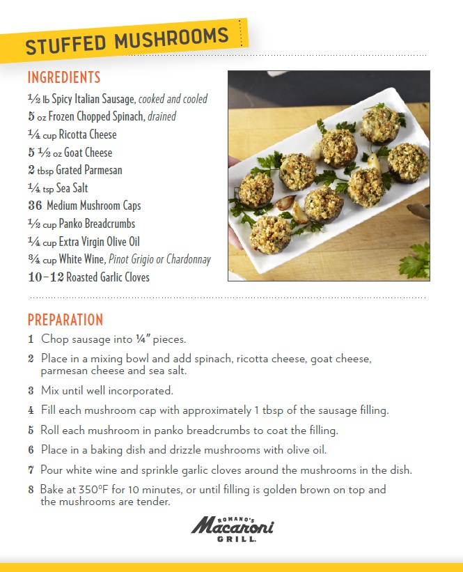 life of the wais macaroni grill's stuffed mushroom receipe revealed