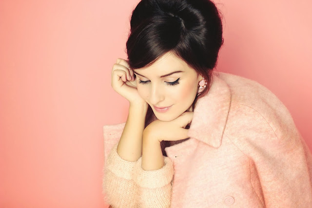 60's fashion photography pink coat