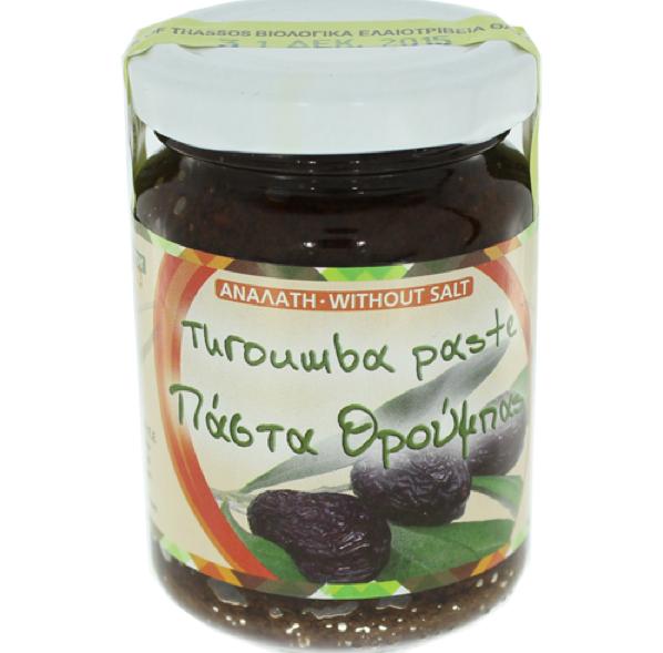 Glas ungesalzene Olivenpaste aus schwarzen Oliven