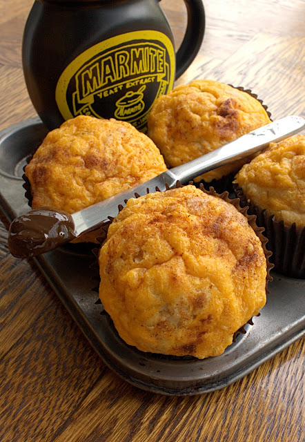 Cheese and Marmite Savoury Muffins - perfect for breakfast or sandwich alternative