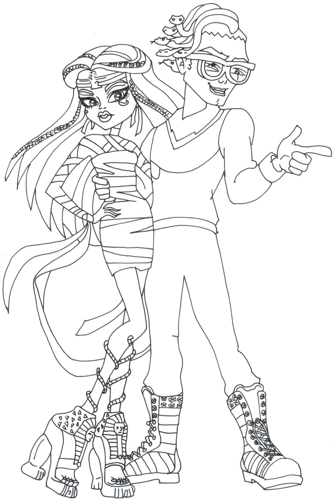 Free Printable Monster High Coloring Pages Boo York Cleo and Deuce