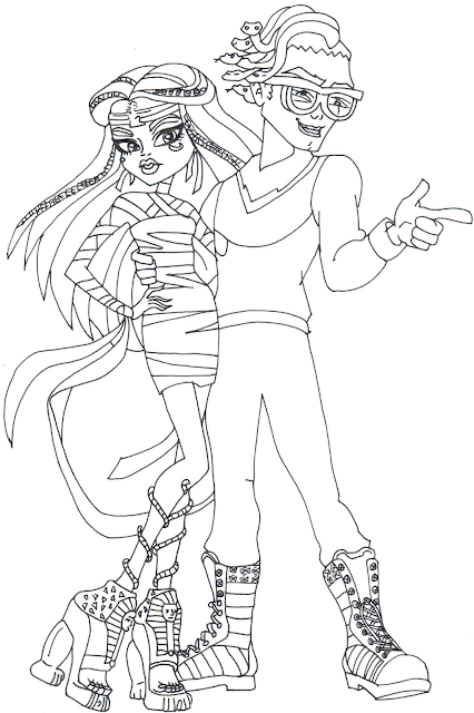 free printable monster high coloring page for cleo de nile and deuce gorgon in boo york click here to print