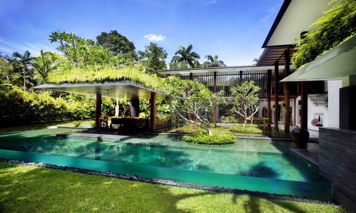 Modern dream house design with wonderful garden views the for The garden pool