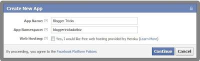 create a new app in facebook