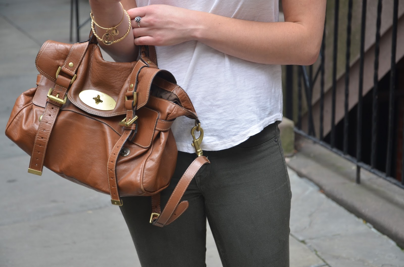 mulberry alexa + olive pants