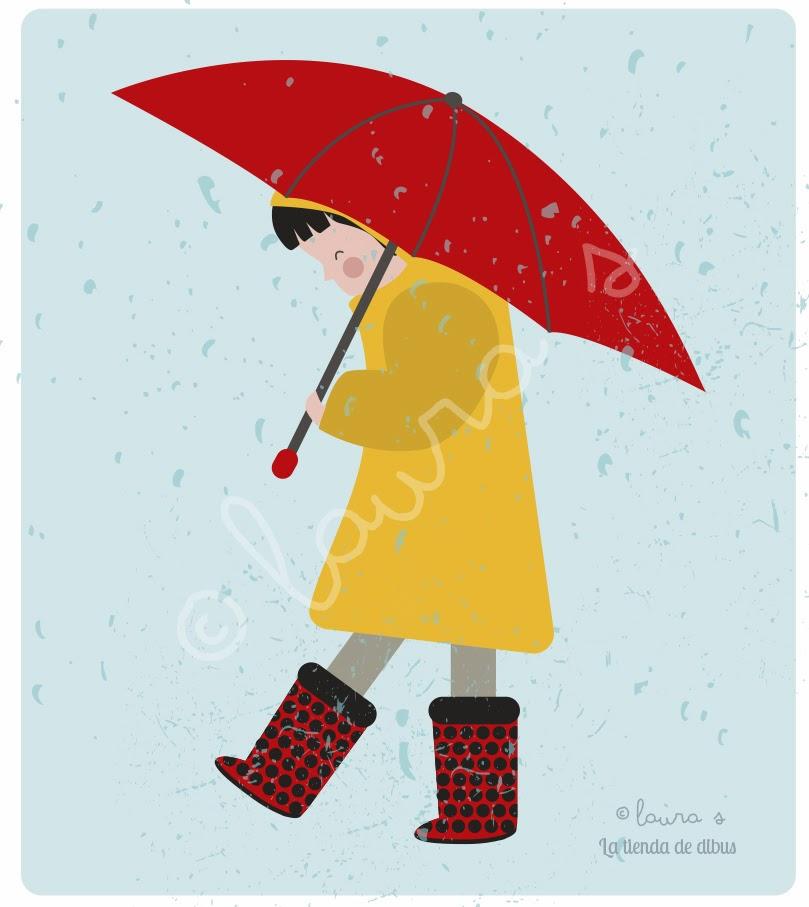 niña bajo la lluvia ilustración