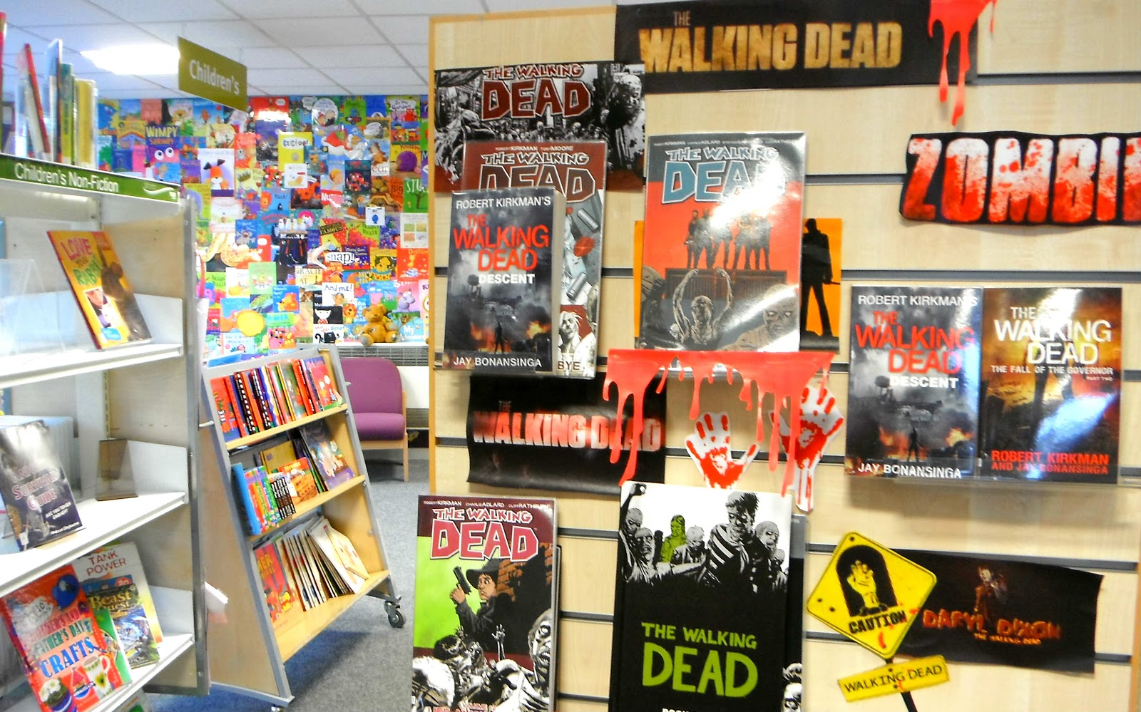 Walking Dead display in Blythe Bridge Library
