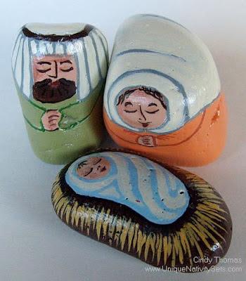 painted rocks, unique nativity sets, nativity scene figures, Spring, Cindy Thomas