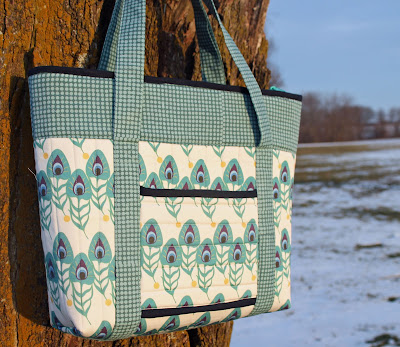 My Fabric Designs' custom printed fabric in Peacock Plumes made into a Totally Trendy Tote